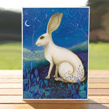 97529-mystical-white-hare-birthdaycard